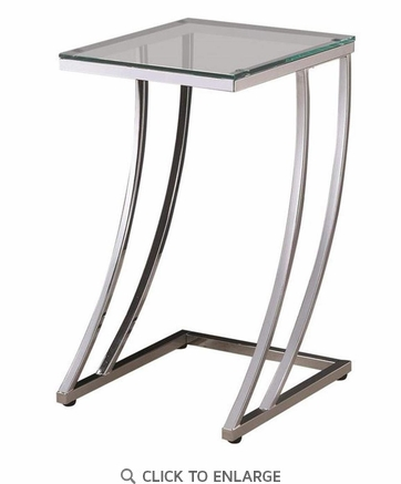 Modern Chrome Square Accent Table with Glass Top