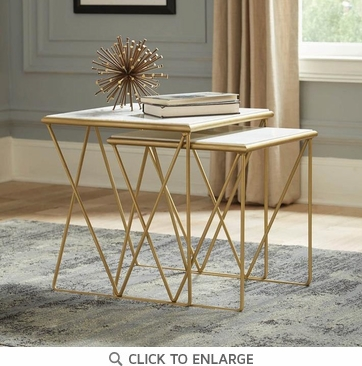 Modern White Marble and Gold Nesting Tables