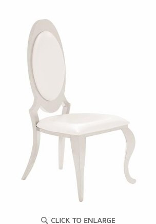 Pearlized Cream Leatherette Dining Side Chair in Chrome Finish 107872 - Set of 2