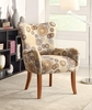 Plush Pattern Accent Chair with Beige Circles and Nailhead