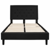 Roxbury Full Size Tufted Upholstered Platform Bed in Black Fabric