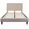 Roxbury Queen Size Tufted Upholstered Platform Bed in Beige Fabric