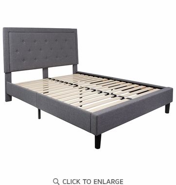 Roxbury Queen Size Tufted Upholstered Platform Bed in Light Grey Fabric