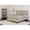 Roxbury Twin Size Tufted Upholstered Platform Bed in Beige Fabric with Pocket Spring Mattress [SL-BM-17-GG]