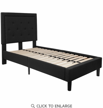 Roxbury Twin Size Tufted Upholstered Platform Bed in Black