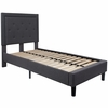 Roxbury Twin Size Tufted Upholstered Platform Bed in Dark Grey