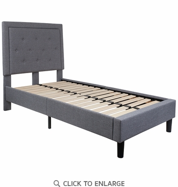 Roxbury Twin Size Tufted Upholstered Platform Bed in Light Grey