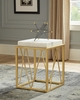 Square Accent Table with White Marble Top and Gold Base