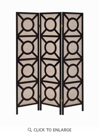 Transitional 3 Panel Cappuccino Folding Screen