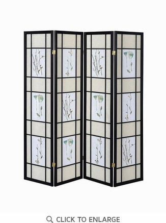 Transitional Black Folding Screen with Floral Design