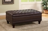 Tufted Storage Ottoman with Turned Legs Brown