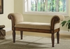 Upholstered Brown Bench with Rolled Arms