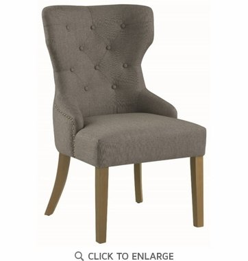 Upholstered Grey Dining or Accent Chair with Nailhead