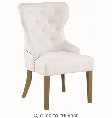 Upholstered White Dining or Accent Chair with Nailhead by Coaster 104517