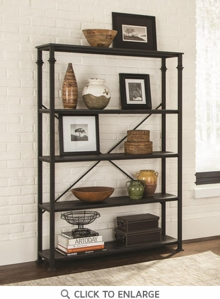 Wide Industrial Style Metal and Wood Four Shelf Bookcase by Coaster 801440