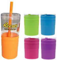 21 oz Plastic Tumbler with Silicone Grip & Straw