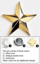 Star Metal Pin, 3D Shape - 1""