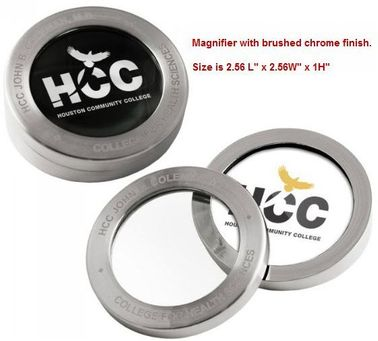Brushed Chrome Paperweight with Magnifier Lid