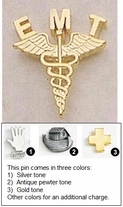 Caduceus Metal Lapel Pin for EMTs