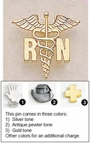 Caduceus Shape Pins for Registered Nurses - 3/4""