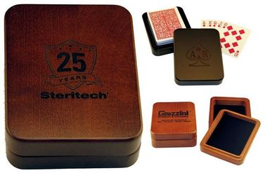 Deck of Cards in USA-Made Wooden Box, Logo Engraved