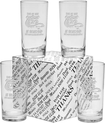 Deep Etched Pint Glass Set in Thank You Gift Box