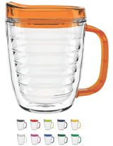 Double Wall Acrylic Handle Mug with Lid - 12 oz