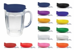 14 oz Handle Mug with Straw - Insulated Double Wall Acrylic