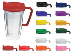 16 oz Handle Mug with Straw - Insulated Double Wall Acrylic