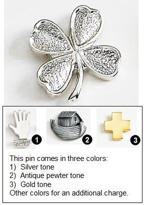 Four Leaf Clover Metal Lapel Pin