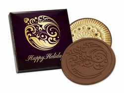 Happy Holidays Belgian Chocolate Dipped Cookie (Case of 25)