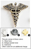 Metal Lapel Pin in Caduceus Shape