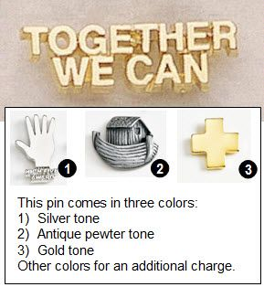 """Together We Can Metal Lapel Pin - 1.25"""""""