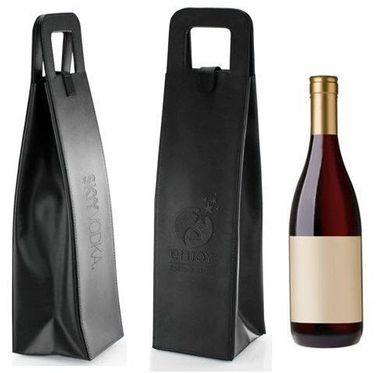 Vegan Leather Wine Bottle Bag, Debossed