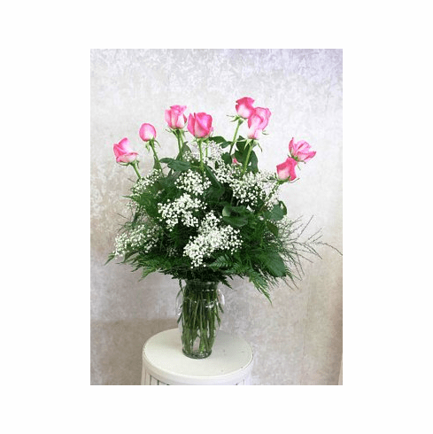 Dozen Pink Roses with Babies Breath