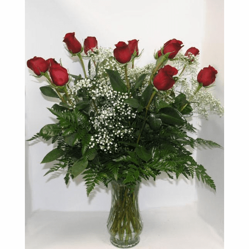 Dozen Red Roses with Babies Breath