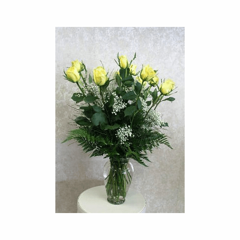 Dozen Yellow Roses with Babies Breath