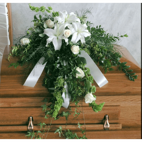 Illusion Casket Spray-6 Roses (as shown)