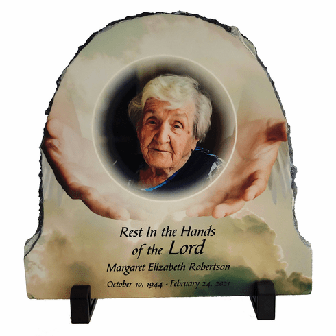 Natural Slate Half Oval Photo Plaque with stand 7.87in x 7.87in