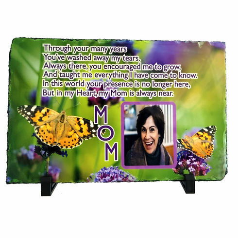 Natural Slate Rectangular Photo Plaque with stand  7.8in x 11.7in