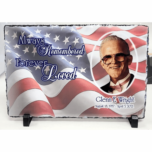 Natural Slate Rectangular Photo Plaque with stand