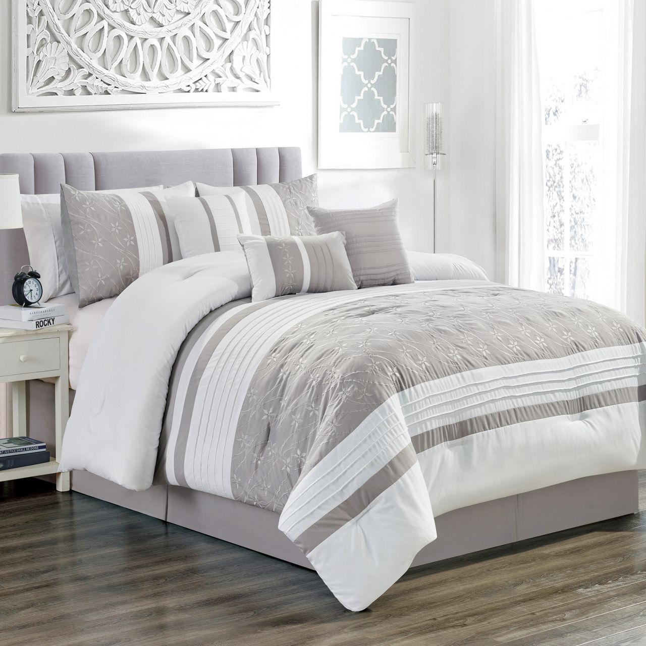 11 Piece Bailey Taupe White Bed In A Bag Set