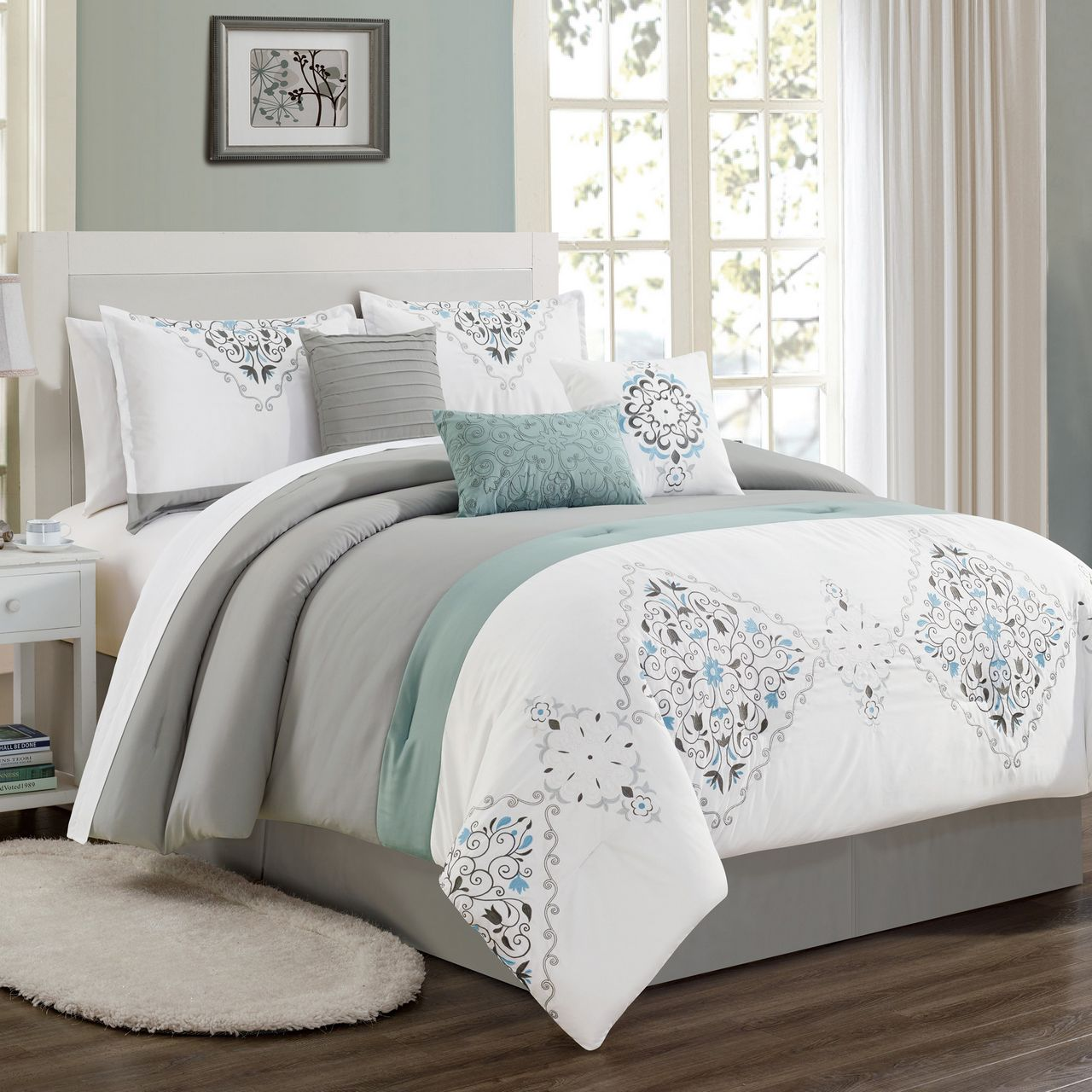 White Gray And Blue Bedroom For Teen: 11 Piece Even Gray/White/Blue Bed In A Bag Set