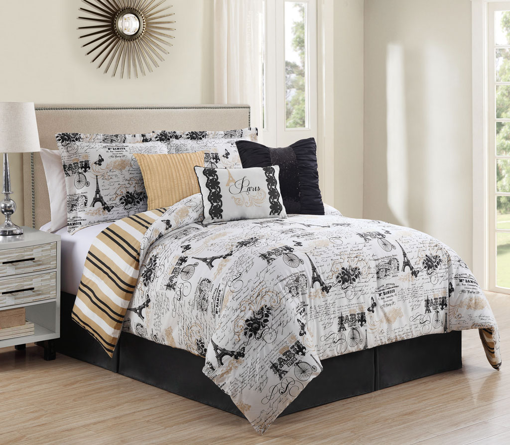 8 Piece Ohlala Teal//Gray Comforter and Quilt Set Queen