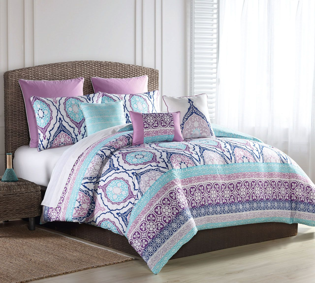12 Piece Raquel Turquoise Purple Bed In A Bag Set