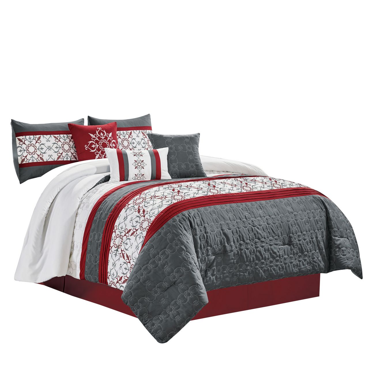 7 Piece Camila Burgundy Charcoal Comforter Set