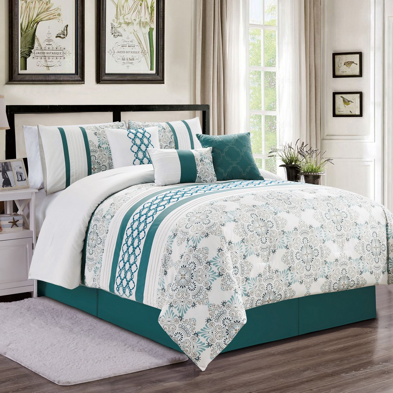 7 Piece Kulbert Teal White Comforter Set