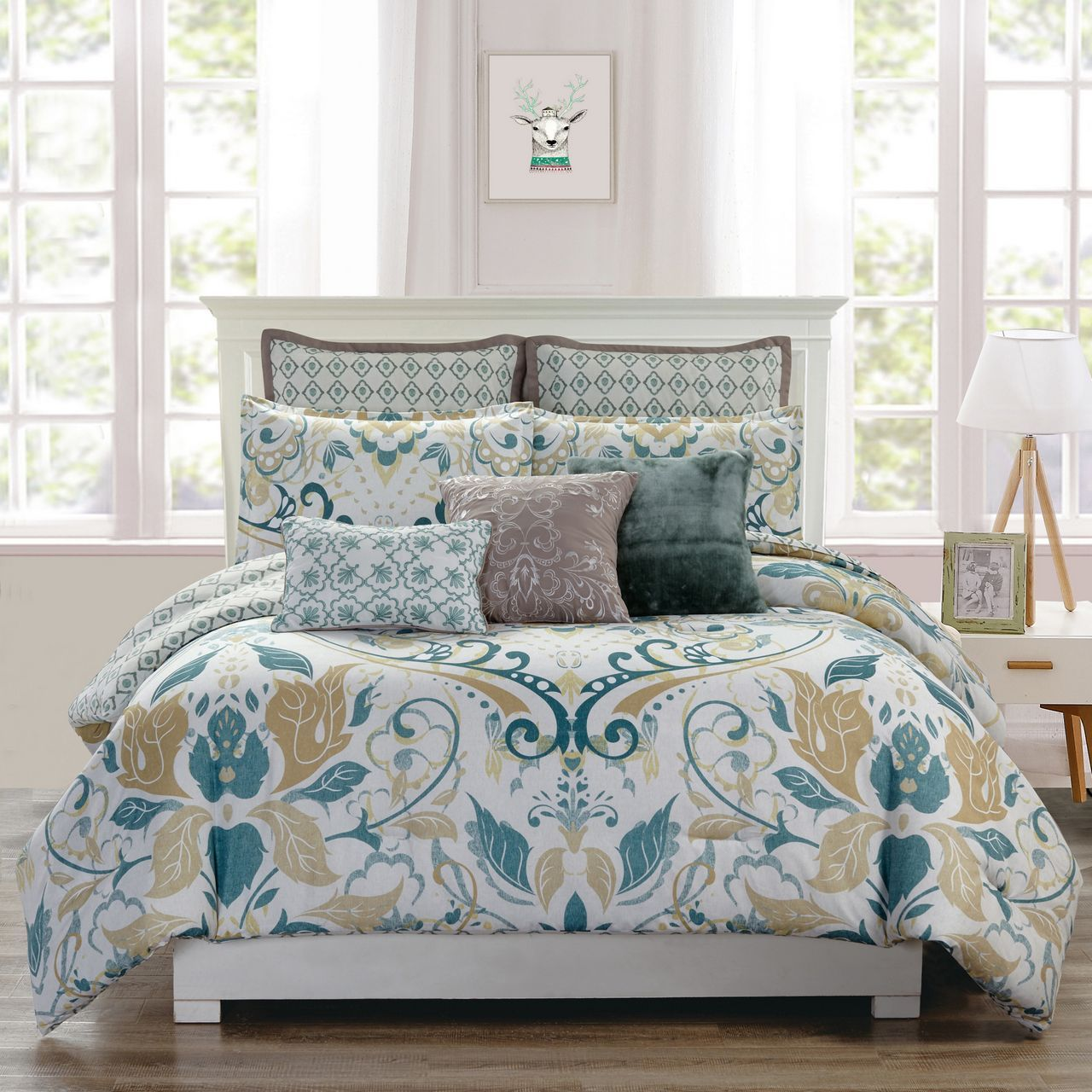 8 Piece Debora Teal Gold Reversible Comforter Set