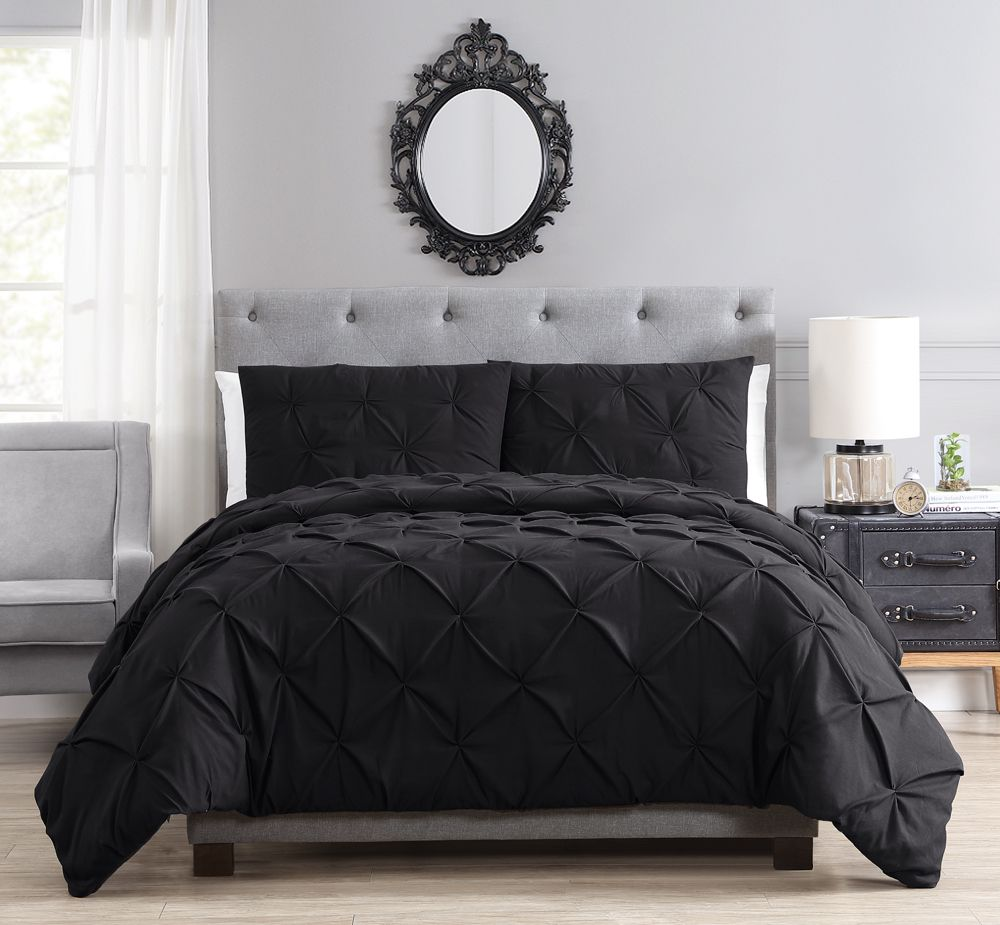 ced98183a681 Brunel Black Pinched Pleat Down Alternative Comforter Set Full Queen