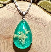 "Dried flowers specimens GREEN pendant with 20"" 925 sterling silver necklace"